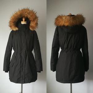 IVANKA TRUMP Black Anorak Coat Puffer Zipper Hood